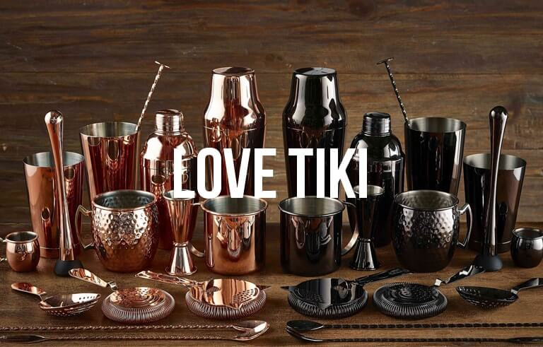 copper and silver barware including mugs, cocktail shakes, spoons and strainers