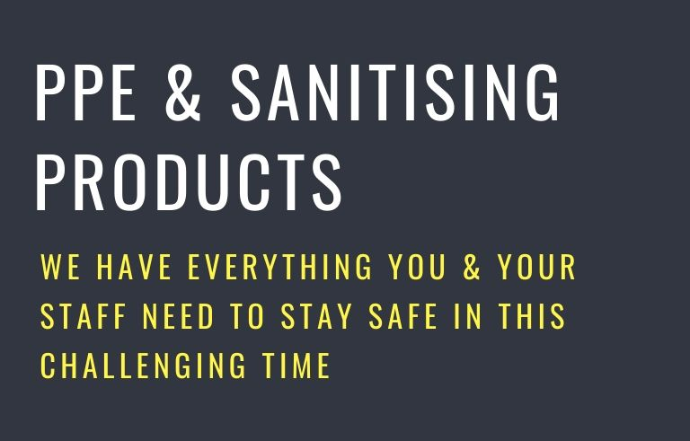 PPE & Sanitising products website banner. a black background with white and yellow writing